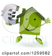 Clipart Of A 3d Happy Green House Character Jumping With A Euro Symbol Royalty Free Illustration