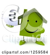 Clipart Of A 3d Happy Green House Character Holding A Euro Symbol Royalty Free Illustration