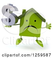 Clipart Of A 3d Sad Green House Character Jumping With A Dollar Symbol Royalty Free Illustration