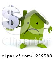 Clipart Of A 3d Sad Green House Character Holding A Dollar Symbol And Thumb Down Royalty Free Illustration
