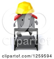 Clipart Of A 3d White House Contractor Running On A Treadmill Royalty Free Illustration