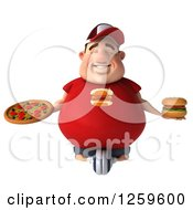 Clipart Of A 3d Chubby White Guy Meditating With A Pizza And Cheeseburger Royalty Free Illustration