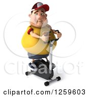 Clipart Of A 3d Chubby White Man Exercising On A Spin Bike Royalty Free Illustration