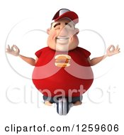Clipart Of A 3d Chubby White Guy Meditating Royalty Free Illustration