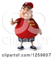 Clipart Of A 3d Chubby White Guy Holding A Thumb Up Royalty Free Illustration