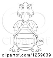 Clipart Of A Black And White Dragon Royalty Free Illustration by Julos