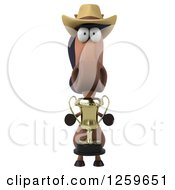 Clipart Of A 3d Horse Wearing A Cowboy Hat And Holding A Trophy Royalty Free Illustration