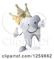 Clipart Of A 3d Happy Crowned Tooth Character Holding A Thumb Up Around A Sign Royalty Free Illustration