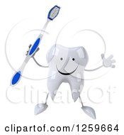 Clipart Of A 3d Tooth Character Jumping With A Toothbrush Royalty Free Illustration