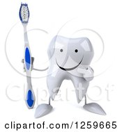Clipart Of A 3d Tooth Character Pointing And Holding A Toothbrush Royalty Free Illustration