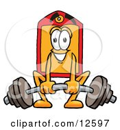 Clipart Picture Of A Price Tag Mascot Cartoon Character Lifting A Heavy Barbell