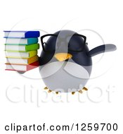 Clipart Of A 3d Bespectacled Penguin Flying With A Stack Of Books Royalty Free Illustration