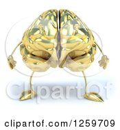 Clipart Of A 3d Gold Brain Character Royalty Free Illustration