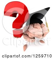 Clipart Of A 3d Graduate Brain Character Holding A Question Mark Royalty Free Illustration