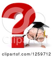 Clipart Of A 3d Graduate Brain Character By A Giant Question Mark Royalty Free Illustration