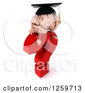 Clipart Of A 3d Graduate Brain Character Thinking On A Question Mark Royalty Free Illustration