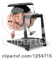 Clipart Of A 3d Graduate Brain Character Running On A Treadmill Royalty Free Illustration