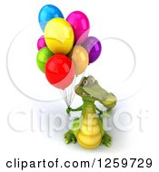 Clipart Of A 3d Crocodile With Party Balloons Royalty Free Illustration