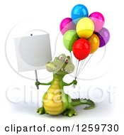 Clipart Of A 3d Crocodile Holding A Blank Sign And Party Balloons Royalty Free Illustration