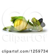 Clipart Of A 3d Crocodile Wearing Sunglasses Resting And Holding A Thumb Up Royalty Free Illustration