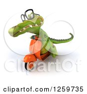 Clipart Of A 3d Bespectacled Crocodile Riding A Scooter Royalty Free Illustration