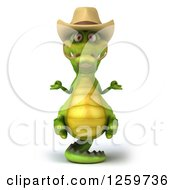 Clipart Of A 3d Cowboy Crocodile Meditating And Balanced On His Tail Royalty Free Illustration
