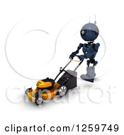 Clipart Of A 3d Blue Android Robot Using A Lawn Mower Royalty Free Illustration