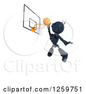 Clipart Of A 3d Blue Android Robot Playing Basketball Royalty Free Illustration