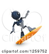 Clipart Of A 3d Blue Android Robot Surfing Royalty Free Illustration