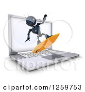 Clipart Of A 3d Blue Android Robot Surfing The Internet Over A Laptop Computer Royalty Free Illustration