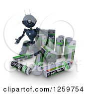 Clipart Of A 3d Blue Android Robot With Giant Rechargeable Batteries Royalty Free Illustration