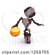 Clipart Of A 3d Red Android Robot Dribbling A Basketball Royalty Free Illustration by KJ Pargeter