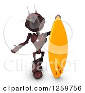 Clipart Of A 3d Red Android Robot With A Surfboard Royalty Free Illustration