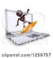 Clipart Of A 3d Red Android Robot Surfing The Internet Over A Laptop Computer Royalty Free Illustration