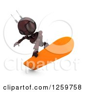 Clipart Of A 3d Red Android Robot Snowboarding Royalty Free Illustration