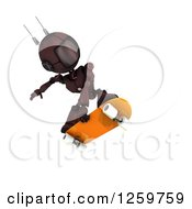 Clipart Of A 3d Red Android Robot Skateboarding Royalty Free Illustration