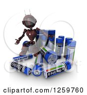 Clipart Of A 3d Red Android Robot With Giant Rechargeable Batteries Royalty Free Illustration