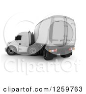 Clipart Of A 3d White Big Rig Truck Turning Royalty Free Illustration