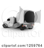 Clipart Of A 3d White Big Rig Truck With Open Doors Royalty Free Illustration