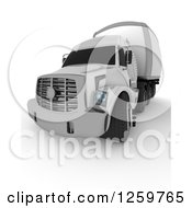 Clipart Of A 3d White Big Rig Truck From The Front Royalty Free Illustration