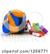 Clipart Of A 3d Blue And Orange Backpack With Books And Binders Royalty Free Illustration