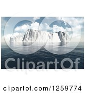 Clipart Of A 3d Large Iceberg In The Ocean Royalty Free Illustration by KJ Pargeter