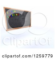Clipart Of A 3d School Blackboard With I Love Learning Magnets Royalty Free Illustration by KJ Pargeter