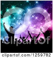 Clipart Of A Silhouetted Dancing And Cheering Crowd Over Colorful Flares Triangles And Music Notes Royalty Free Vector Illustration by KJ Pargeter
