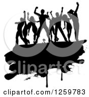 Clipart Of A Team Of Black Silhouetted Dancers On A Grunge Bar Royalty Free Vector Illustration by KJ Pargeter