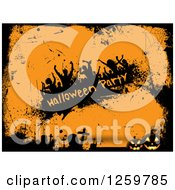 Clipart Of A Halloween Party Banner With Silhouetted Dancers Over Orange With Grunge Cemetery Borders Royalty Free Vector Illustration