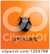 Clipart Of A Grungy Happy Halloween Greeting Under An Owl With A Shadow On Orange Royalty Free Vector Illustration by KJ Pargeter
