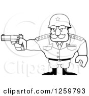 Clipart Of A Black And White Army General Man Holding A Gun Lineart Drawing Royalty Free Vector Illustration