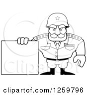 Clipart Of A Black And White Army General Man Holding A Blank Sign Lineart Drawing Royalty Free Vector Illustration