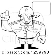 Clipart Of A Black And White Army General Man Talking Lineart Drawing Royalty Free Vector Illustration
